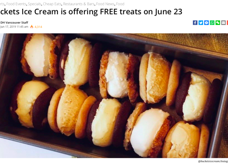 Daily Hive article about free ice cream with image of mini ice cream sandwiches in a loaf pan