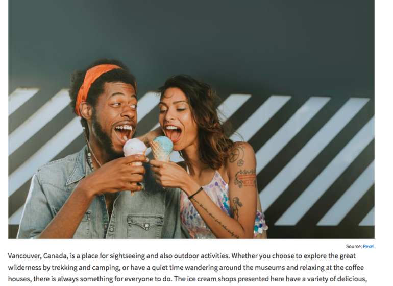 a man and a woman are each holding an ice cream cone and ready to eat it enthusiastically